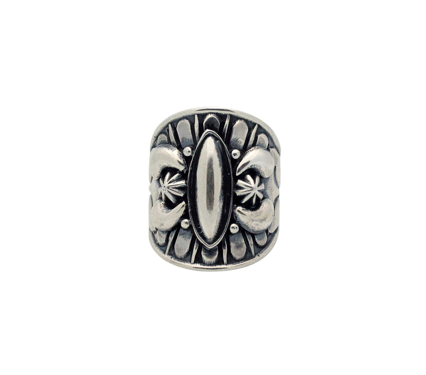 Derrick Gordon, Ring, Sterling Silver, Stamping, Oval Cutout, Navajo Made, 8