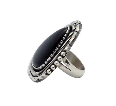 Load image into Gallery viewer, Derrick Gordon, Ring, Acoma Black Jet, Sterling Silver, Navajo Handmade, 7.5