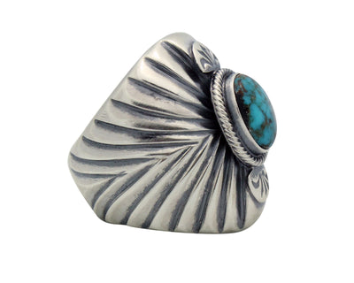 Load image into Gallery viewer, Aaron Anderson, Ring, Heavy, Tufa Cast, Bisbee Turquoise, Navajo Handmade,