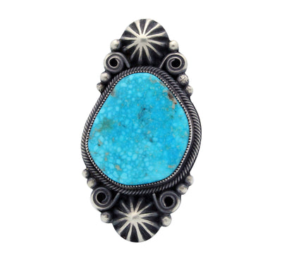 Load image into Gallery viewer, Floyd Parkhurst, Ring, Kingman Turquoise, Old Style, Navajo Handmade, 9.5