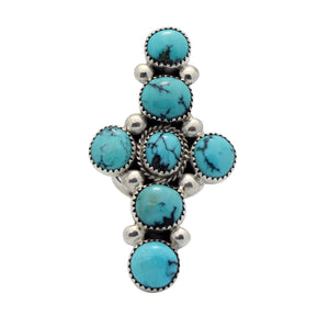 Verdy Jake, Cross Ring, Chinese Turquoise, Sterling Silver, Navajo Made, 8