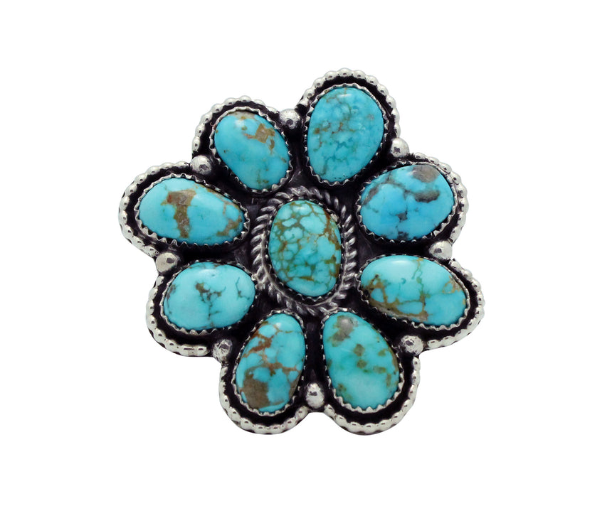 Navajo Handmade Ring, Adjustable, Pilot Mountain Turquoise, Cluster, Silver,