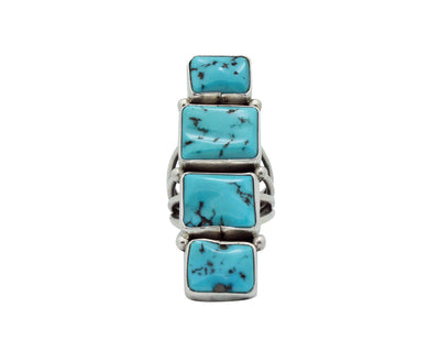 Load image into Gallery viewer, Verdy Jake, Row Ring, Sleeping Beauty Turquoise, Silver, Navajo Handmade, 8.5