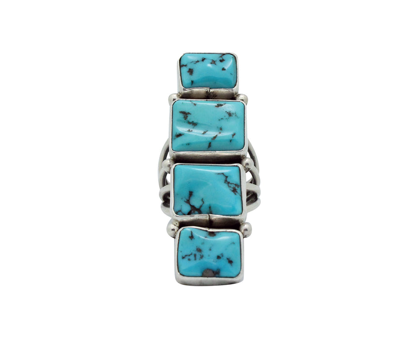 Verdy Jake, Row Ring, Sleeping Beauty Turquoise, Silver, Navajo Handmade, 8.5