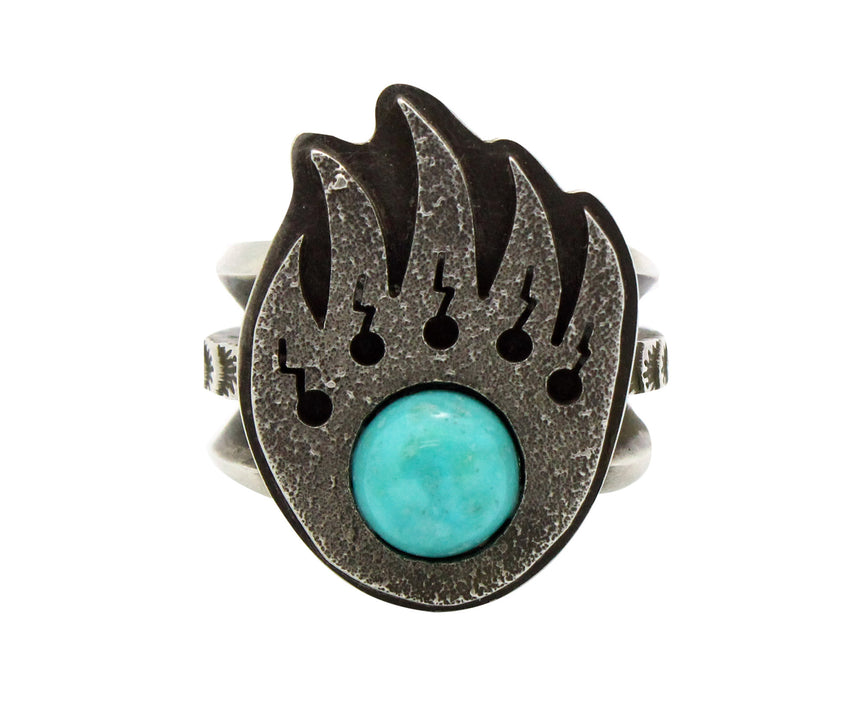 Aaron John, Ring, Turquoise, Bear Claw, Sterling Silver, Navajo Handmade, 8