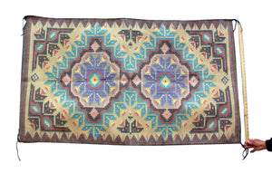 "Marie Yazzie, New Lands, Raised Outline Pattern, Navajo, 64"" x 37"""