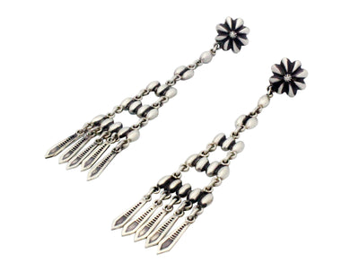 Load image into Gallery viewer, Stacey Gishal, Earrings, Pierced, Chandelier, Silver, Navajo Handmade, 3.5