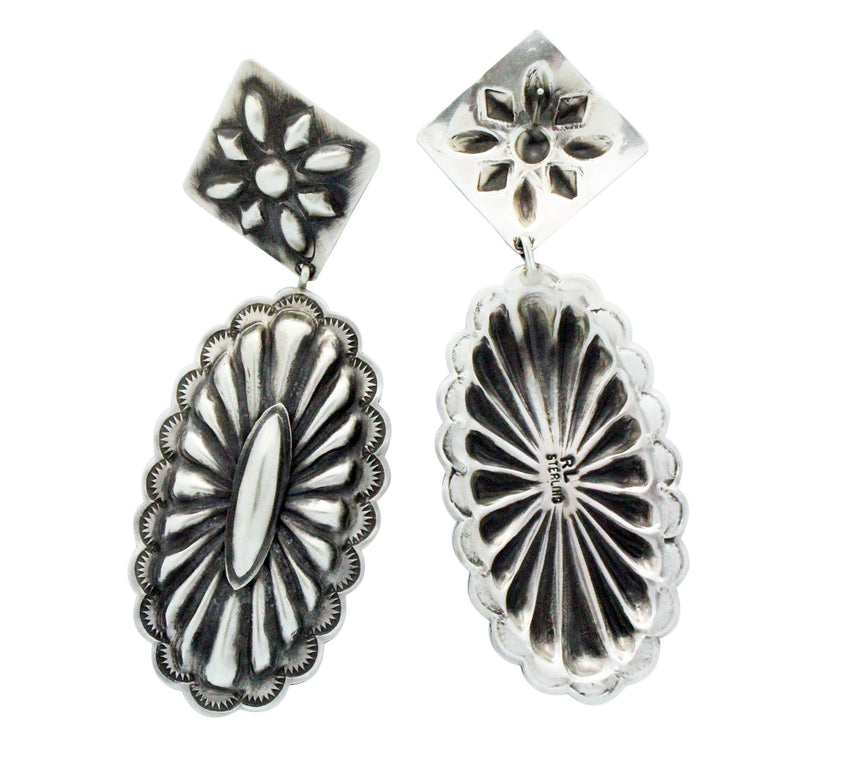 Rita Lee, Dangle Earrings, Pierced, Sterling Silver, Navajo Handmade, 4 in