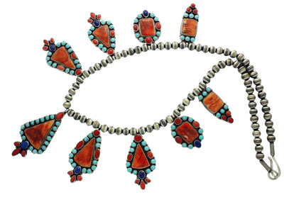 Load image into Gallery viewer, Donovan Cadman, Necklace, Coral, Spiny Oyster Shell, Lapis, Navajo Handmade