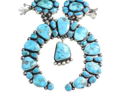 Load image into Gallery viewer, Ernest Roy Begay, Necklace, Blossoms, Huge, Morenci Turquoise, Navajo Made