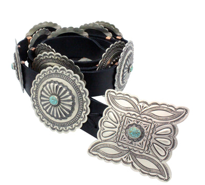 Load image into Gallery viewer, Herman Smith, Concho Belt, Turquoise Mountain, 12 Pieces, Navajo Handmade