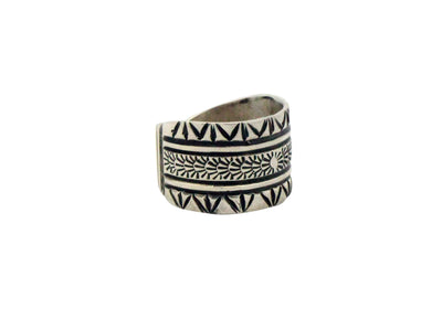 Load image into Gallery viewer, Lutricia Yellowhair, Ring, Sterling Silver, Stamping, Navajo Handmade, 9