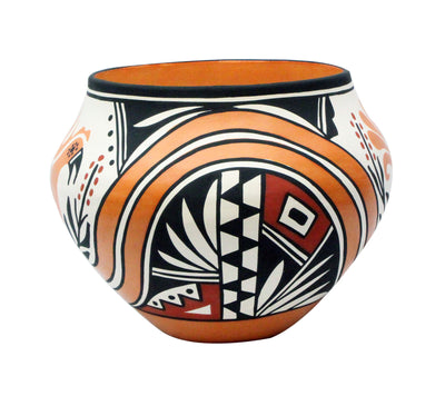 "Load image into Gallery viewer, Loretta Joe, Acoma Pottery, Traditional Design, Jar, 9.6"" x 8"""