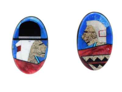 Load image into Gallery viewer, Calvin Desson, Earrings, Navajo Grandparents, Silver, Navajo Handmade, 1.25
