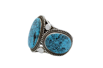 Load image into Gallery viewer, Rick Martinez, Bracelet, Kingman Turquoise, Big, Silver, Navajo made, 7 7/8