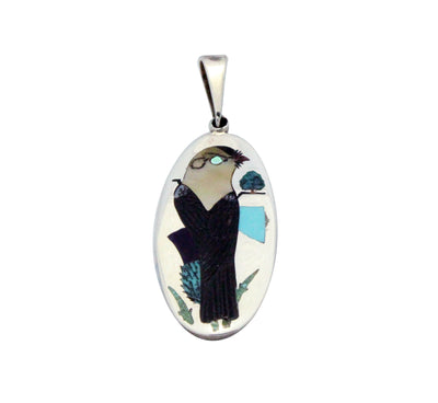 Load image into Gallery viewer, Harlan Coonsis, Pendant, Yellow Headed Blackbird, Silver, Zuni made, 1.75