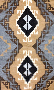 Alice Whitewater, Two Grey Hill Rug, Navajo Handwoven, 47.5 in x 79 in