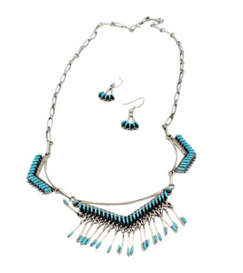 Mildred Ukestine, Necklace, Turquoise Cluster, Needlepoint, Zuni made, 24