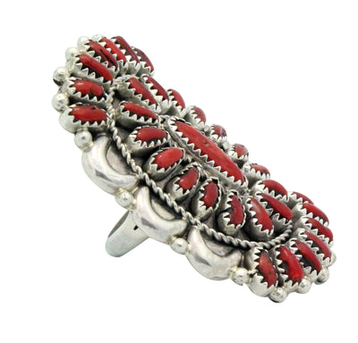 Load image into Gallery viewer, Justin Wilson, Ring, Mediterranean Coral, Sterling Silver, Navajo Handmade, 8.5