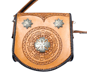 Jennifer Curtis, Leather Purse, Silver Buttons, Navajo Made, Circa 2000s