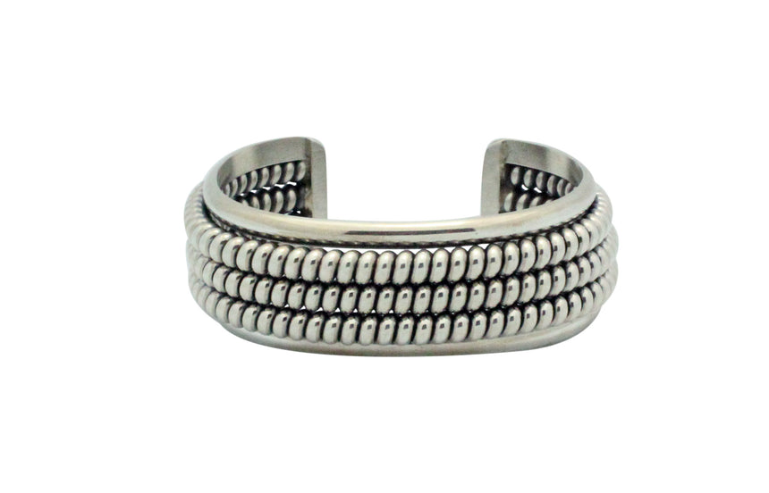 Phillip Tsosie Jr, Bracelet, Sterling Silver, Slinky Design, Navajo Made, 6.25