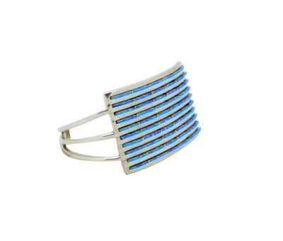 Load image into Gallery viewer, R Lahi, Bracelet, Blue Opal Inlay, Ten Rows, Sterling Silver, Zuni Handmade, 6 1/8""