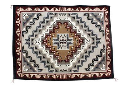 "Load image into Gallery viewer, Margie Elwood, Red Two Grey Hills Rug, Navajo Handwoven, 63"" x 47"""