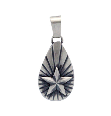 Load image into Gallery viewer, Derrick Gordon, Sterling Silver Pendant, Star, Stamping, Navajo Handmade, 2.25