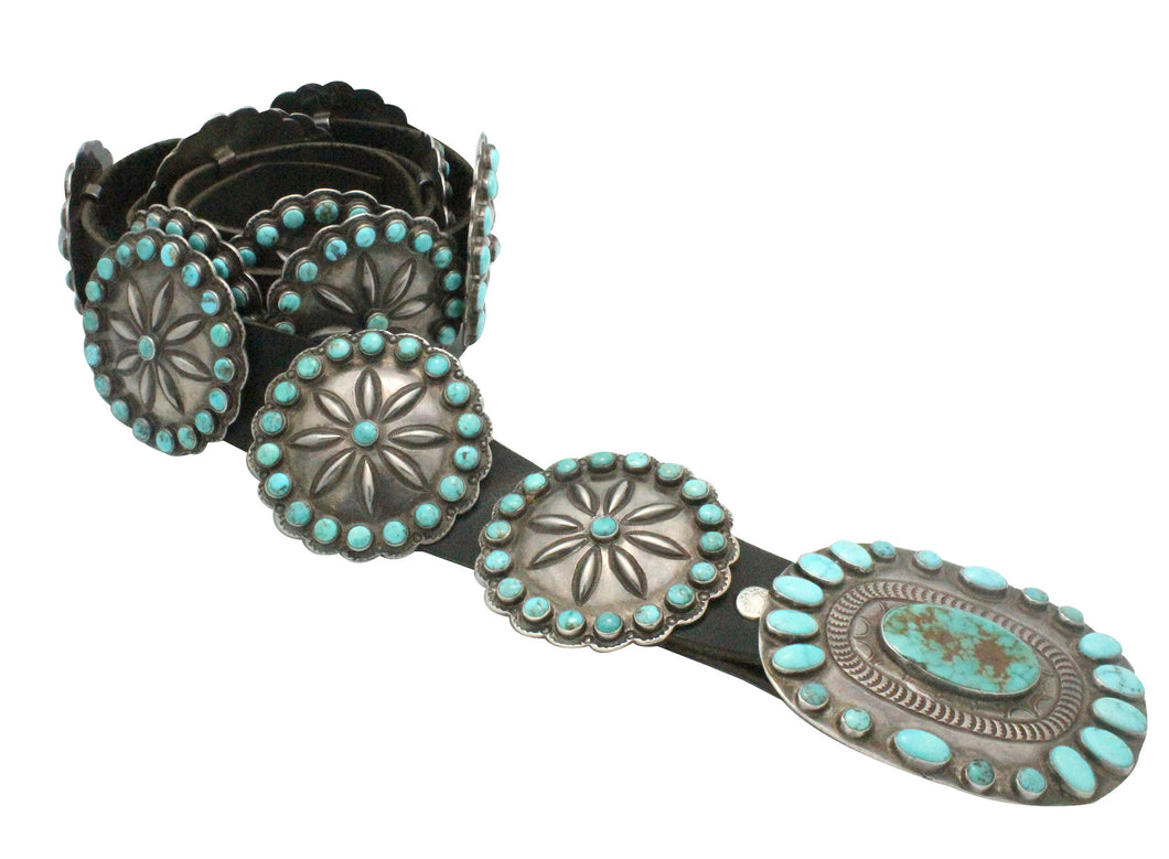 Antique, Concho Belt, Navajo, Lone Mountain Turquoise, Circa 1930s, 13 Pcs