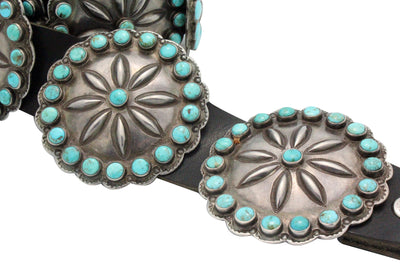 Load image into Gallery viewer, Antique, Concho Belt, Navajo, Lone Mountain Turquoise, Circa 1930s, 13 Pcs