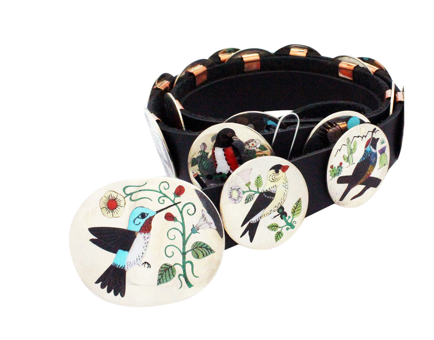 Nancy, Ruddell Laconsello, Concho Belt, Birds, Inlay, Zuni Handmade, 17 Pieces