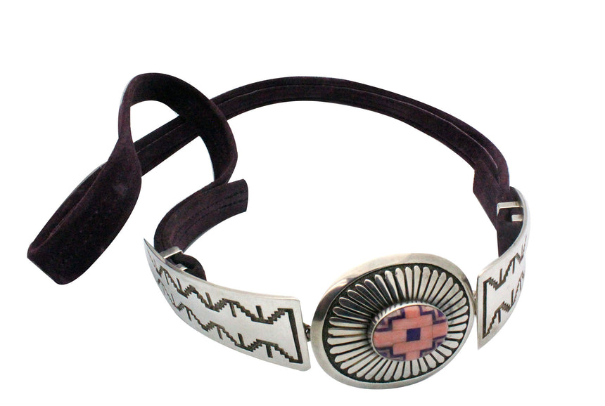 Tommy Jackson, Fashion Belt, Pink Coral, Sugilite, Silver, Navajo Made, 3 Pcs