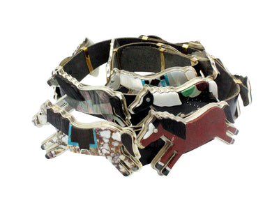 Load image into Gallery viewer, Bryan Tom, Melvin Francis, Concho Belt, Inlay Horses, Navajo Made, 11 Pcs