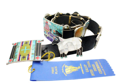 Load image into Gallery viewer, Bryan Tom, Melvin Francis, Concho Belt, Storyteller, Inlay, Navajo Made, 10 Pcs