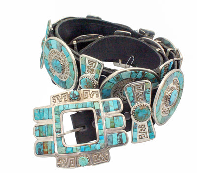 Load image into Gallery viewer, Hank Whitethorne, Concho Belt, Turquoise, Navajo Handmade, 17 Pieces