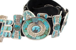 Hank Whitethorne, Concho Belt, Turquoise, Navajo Handmade, 17 Pieces