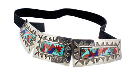 Tommy Jackson, Fashion Belt, Multi Stone Inlay, Silver, Navajo Handmade, 3 Pcs