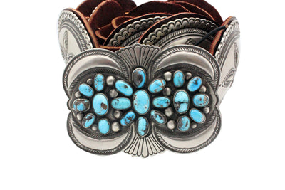 Load image into Gallery viewer, Calvin Martinez, Concho Belt, Persian Turquoise, Navajo Handmade, 10 Pcs
