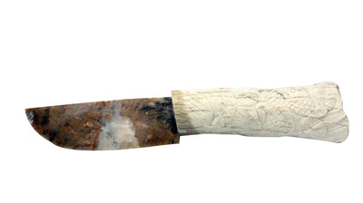 Load image into Gallery viewer, Davin Singer, Handmade Knife, Carved Antler Handle, Beaded Sheath?