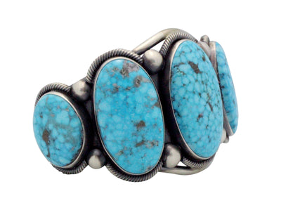 Load image into Gallery viewer, Ernest Roy Begay, Bracelet, Kingman Turquoise, Silver, Navajo Handmade, 7.25