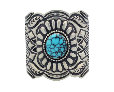 Load image into Gallery viewer, Arnold Blackgoat, Bracelet, Egyptian Turquoise, Stamping, Navajo Handmade, 7