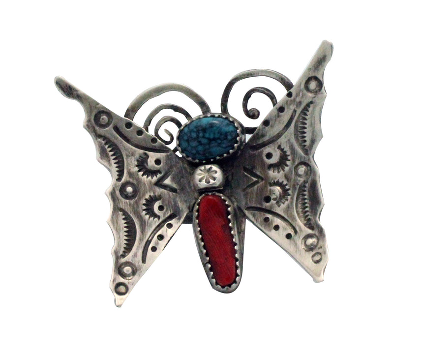 Navajo Handmade Ring, Butterfly, Mediterranean Coral, Turquoise, Silver