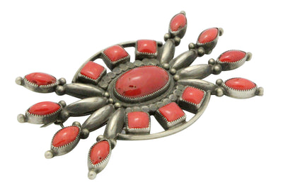 Load image into Gallery viewer, Calvin Martinez, Pin, Mediterranean Coral, Sterling Silver, Navajo Handmade