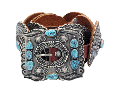 Load image into Gallery viewer, Harry H Begay, Concho Belt, Kingman Turquoise, 11 Pieces, Navajo Handmade