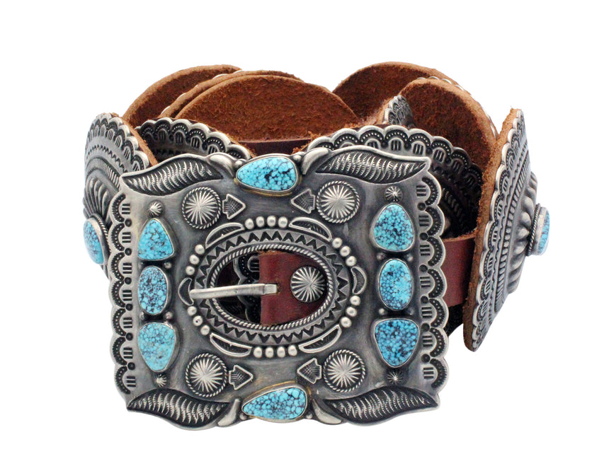 Harry H Begay, Concho Belt, Kingman Turquoise, 11 Pieces, Navajo Handmade