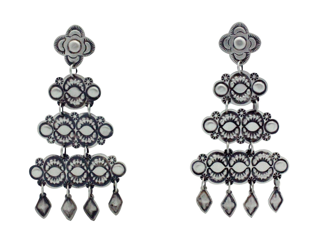 Harris Joe, Pierced Earrings, Chandelier, Brushed Silver, Navajo Handmade, 3.1