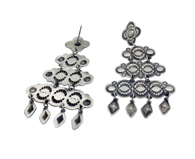 Load image into Gallery viewer, Harris Joe, Pierced Earrings, Chandelier, Brushed Silver, Navajo Handmade, 3.1