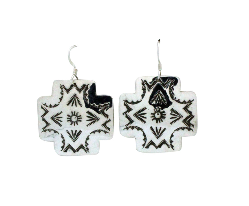 Harold Joe, Earrings, Dangles, Cross, Stamping, Silver, Navajo Handmade, 2