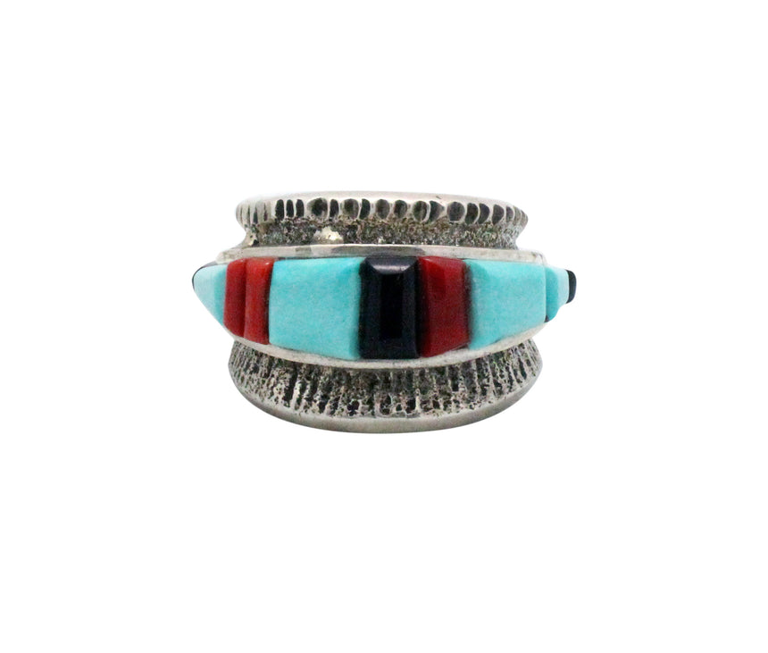 Bryan Tom, Ring, Tufa, Multi Stone Inlay, Silver, Navajo, San Felipe Made, 12