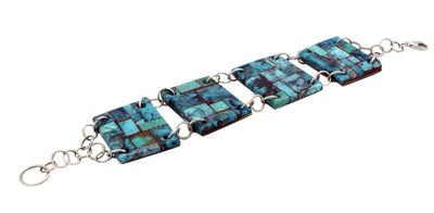 Load image into Gallery viewer, Bryan Tom, Link Bracelet, Turquoise, Shell, Sterling Silver Chain, Handmade